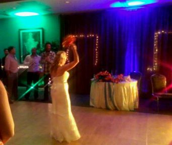 Bouquet toss wedding dj in Cambria