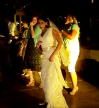 Bride dancing to the Wobble